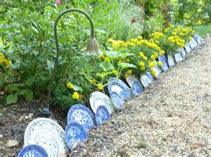 Garden Border with Used China Plates