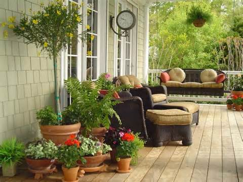 potted plants on the front porch