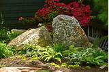idea bolders shingle siding cottage garden red flowers ferns
