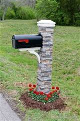 diy mailbox makeover with stone brick pillar and flowers, Beneath My ...