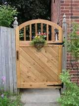 garden gate in western cedar with forged iron hardware by jetnum