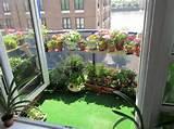un balcon fleuri avec des plantes dans des pots sur tag res