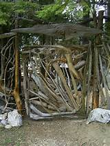 need ideas for a twig branch driftwood gate for my garden doberman