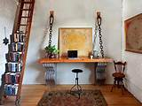 Rustic Home Office With Ladder Bookshelf and Eclectic Architectural ...