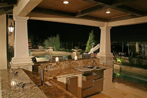 outdoor kitchens custom water falls patio covers concrete stain