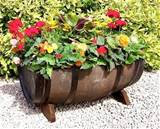 Wine barrel planter | Yard Ideas | Pinterest