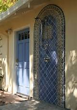 The blue tiles used for this outdoor shower coordinate with the color ...
