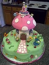 Fairy garden cake... clever use of the flower cake pan as the bottom ...
