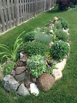 rock bordered garden herbs etc gardening ideas tips pinterest