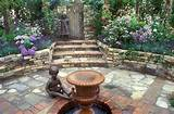 English Secret Garden. Outdoor room, sunken stone patio with child ...