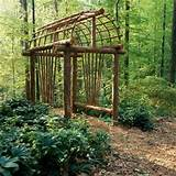 Rustic branch arbor | Tiny house ideas | Pinterest