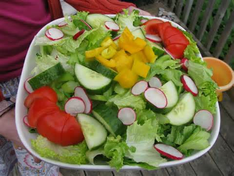 today i am posting a true garden salad complete with fresh green leaf