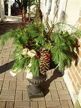 winter urn with bow | Planter Ideas | Pinterest