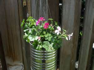 hanging flower basket from a metal tin can like the one below you can ...