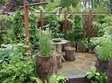 un jardin bien fleuri avec des plantes et des meubles rustiques
