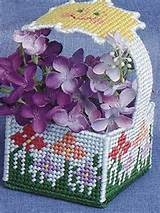 this garden mini basket is stitched on plastic canvas and is perfect
