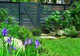 Garden Fences Ideas: Green Lawn Minimalist Look Violet Flowers Garden ...