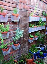 designs Other Metro Traditional brick wall hanging basket herb garden ...