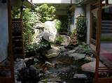 indoor water garden design with fish pond decorating with natural ...