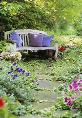 garden bench home nature flowers garden path yard bench