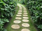 Beautiful garden path made with sliced wood pieces, Green design idea ...