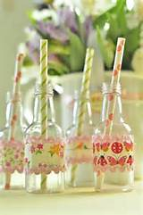Wrap glass bottles with scrapbook paper and ric rac, then add paper ...