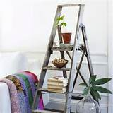 old rustic ladder bookshelves and flower pots home decoration