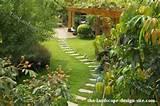 stepping stone path through a lawn