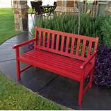 red color outdoor bench garden