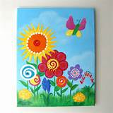 girls room wall art butterfly garden 11x14 canvas painting floral