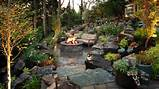 woodland backyard patio with stone fire pit this quiet backyard patio ...