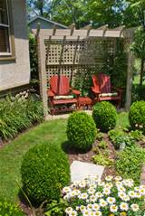 Backyard seating and formal garden style landscape with trimmed shrubs ...