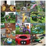Adorable do-it-yourself old tire animal sculptures for your garden