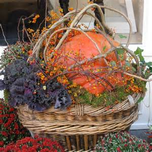 Container Garden Picture of large basket with fall arrangement - Photo ...