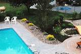 Pool landscaping with pebbles
