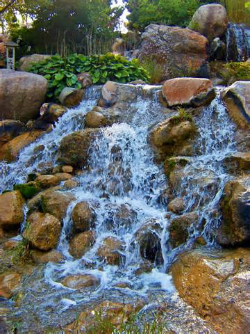 Description Waterfall at Japanese Water Garden.jpg